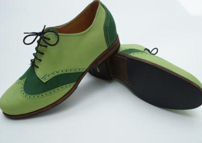 Grün kombinierter schottisch gelochter Halbschuh