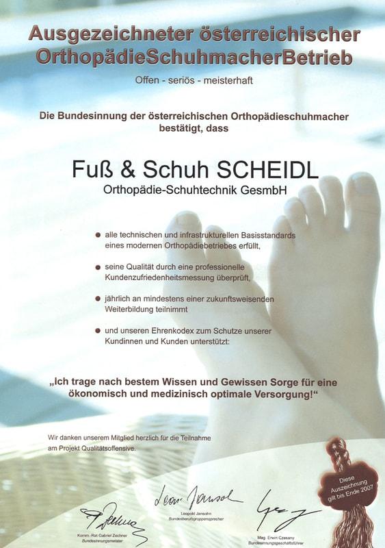 Auszeichnung der Bundesinnung österreichischer Orthopädieschuhmacher