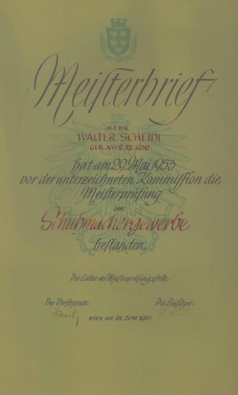Schuhmacher Meisterbrief Walter Scheidl sen