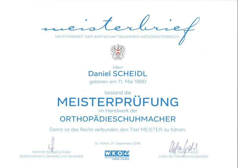 Meisterprüfungszeugnis Daniel Scheidl