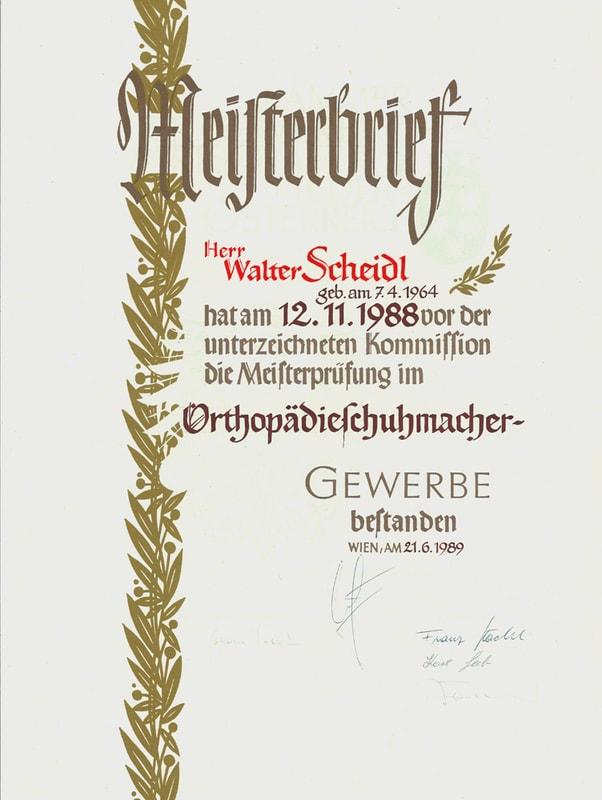 Orthopädieschuhmacher Meisterbrief Walter Scheidl jun