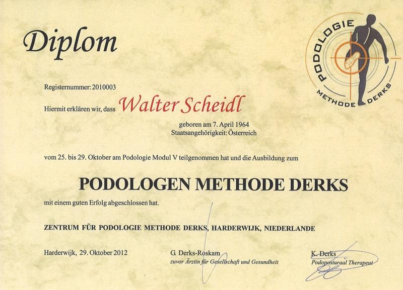 Diplom Podologie Methode Derks Walter Scheid